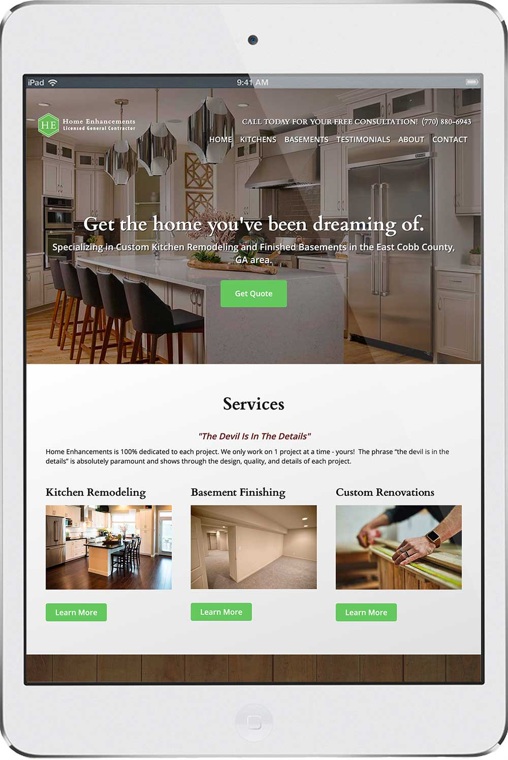 Responive web design mockup
