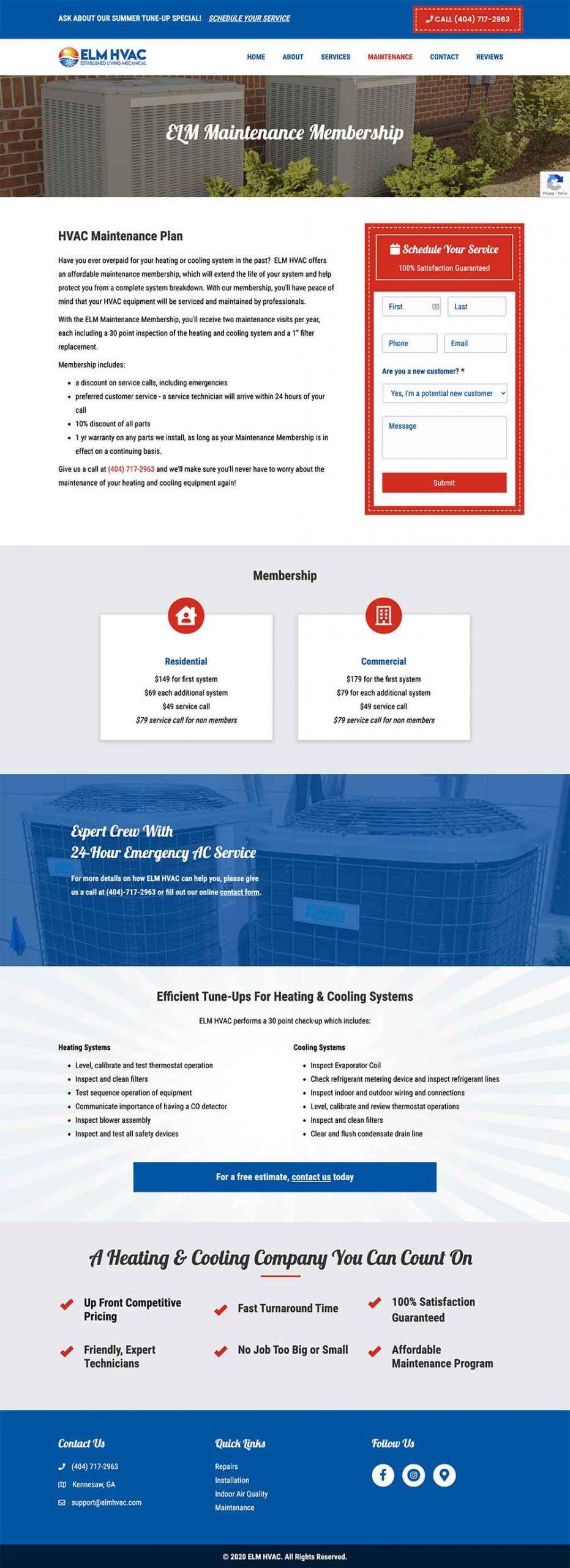homepage design for hvac company